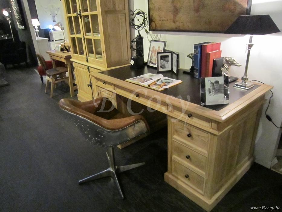 Pr interiors landelijke maine bureau buro in weathered oak for Buro en ligne